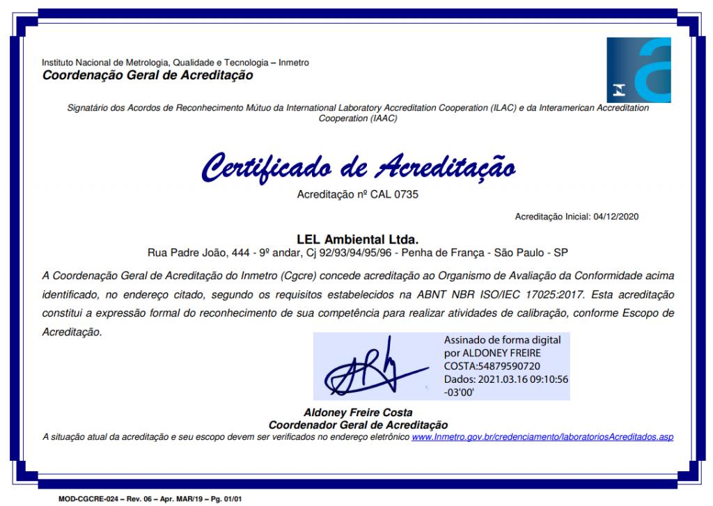 Certificado de Calibração RBC